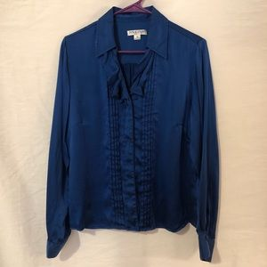 Pendleton 16 Blouse Silk Royal Blue Ruffle 514